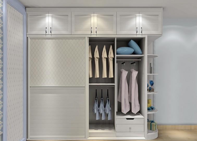 白色百叶门双趟门整体衣柜